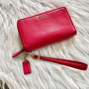 Coach Pink Textured Leather Wristlet